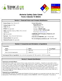 Material Safety Data SheetFerric Chloride TS MSDS