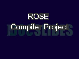 ROSE Compiler Project