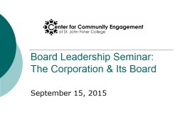 Board Leadership Seminar: