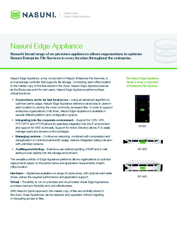 Nasuni Edge Appliance, a key component of Nasuni Enterprise File Servi