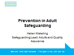 Prevention in Adult Safeguarding