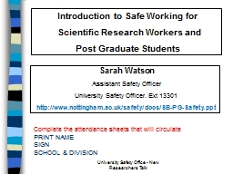 Introduction to Safe Working for