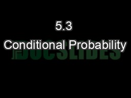 5.3 Conditional Probability