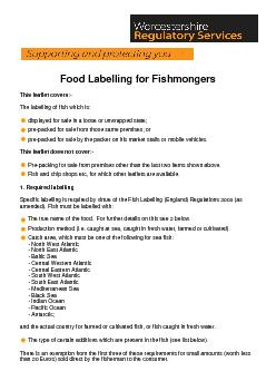 Food Labelling for Fishmongers