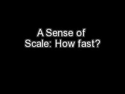 A Sense of Scale: How fast?
