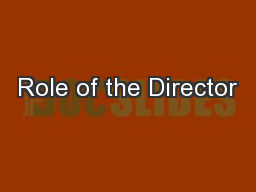 Role of the Director