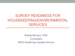 Survey Readiness for Housekeeping/Environmental Services