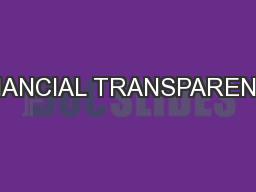 FINANCIAL TRANSPARENCY PowerPoint PPT Presentation