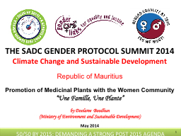 THE SADC GENDER PROTOCOL SUMMIT 2014