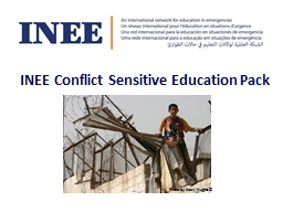 INEE Conflict Sensitive Education Pack