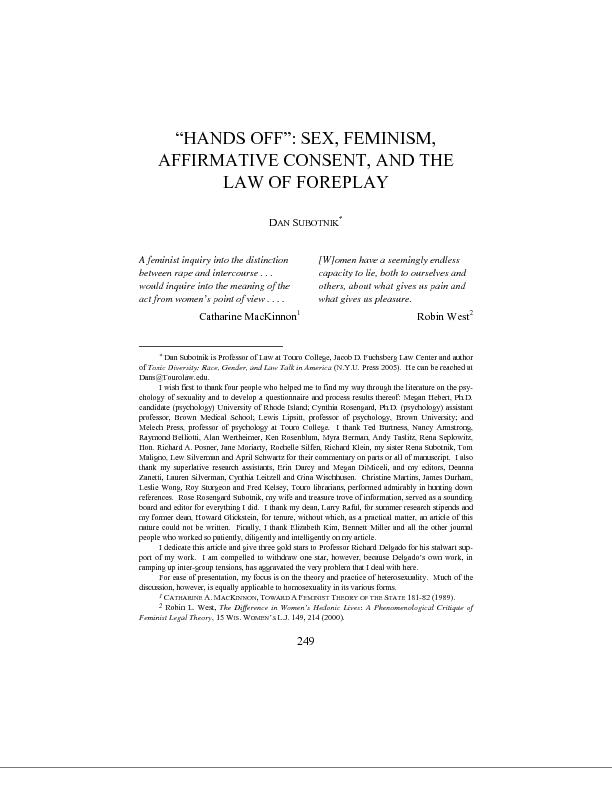AFFIRMATIVE CONSENT, AND THE UBOTNIKA feminist inquiry into the distin
