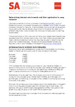 DETERMINING INTEREST RATE FORWARDS AND THEIR APPLICATION TO SWAP VALUA