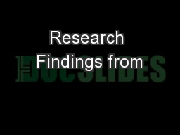Research Findings from