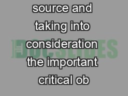 primary source and taking into consideration the important critical ob