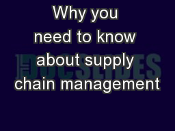 Why you need to know about supply chain management