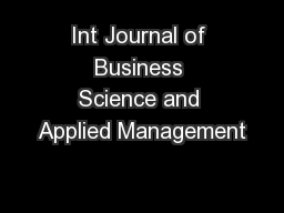 Int Journal of Business Science and Applied Management