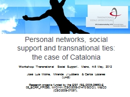 Personal networks, social support and transnational ties: t