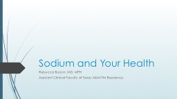 Sodium and Your Health PowerPoint PPT Presentation