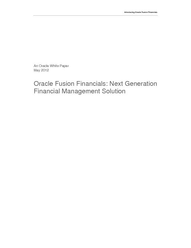 Introducing Oracle Fusion Financials