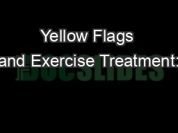 Yellow Flags and Exercise Treatment: