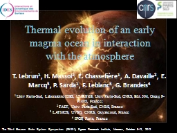 Thermal evolution of an early magma ocean in interaction wi