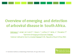 Overview of emerging and detection of arboviral disease in