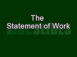 The Statement of Work PowerPoint PPT Presentation