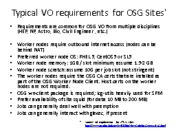 Typical VO requirements for OSG Sites