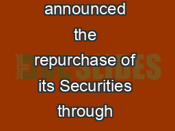 PRESS COMMUNIQUE The Government of India have announced the repurchase of its Securities through reverse auction for an aggregate amount of Rs