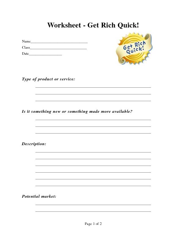 Worksheet - Get Rich Quick!Type of product or service: PowerPoint PPT Presentation