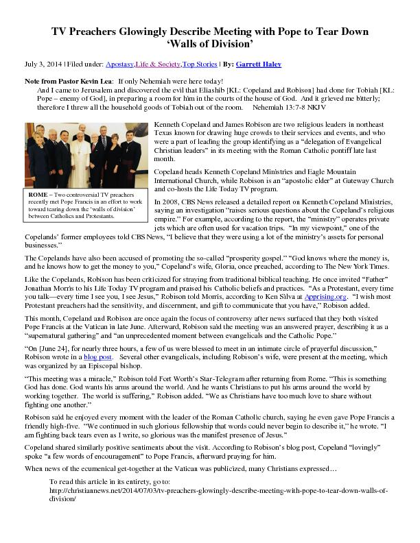 TV Preachers Glowingly Describe Meeting with Pope PDF document - DocSlides