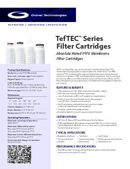 TEFTEC FLOW RATETypical Flow Rate Clean Water at Ambient Temperature (