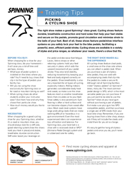 Training Tips The right shoe makes a good Spinning cla