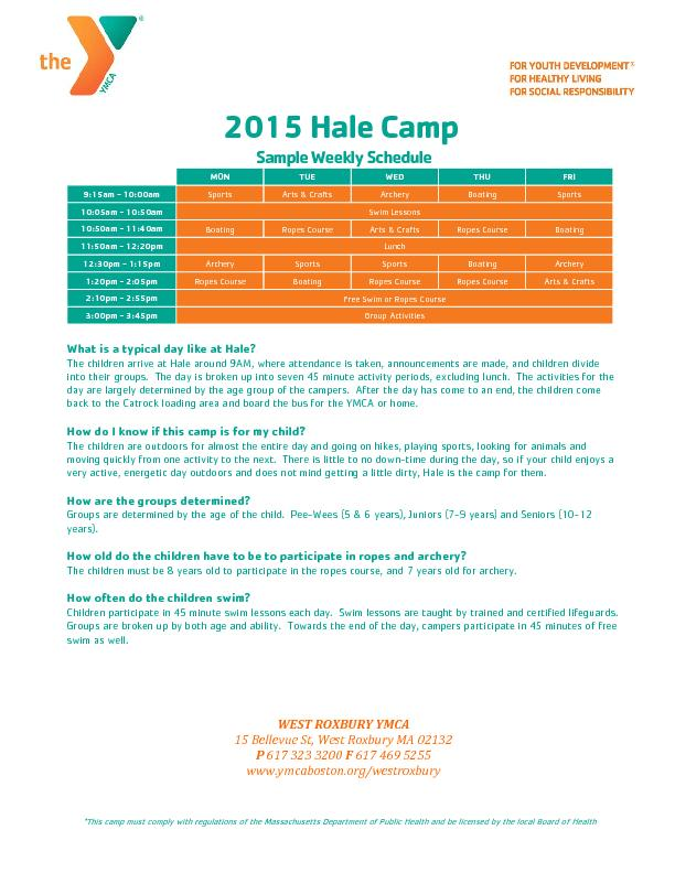 2015 Hale CampSample Weekly Schedule PowerPoint PPT Presentation