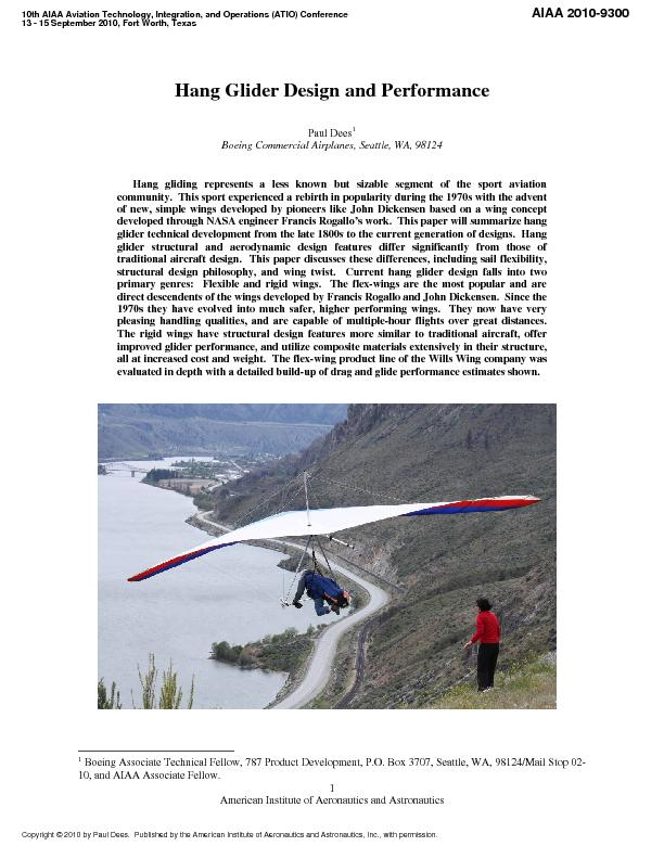 Hang Glider Design and Performance Boeing Commercial Airplanes, Seattl