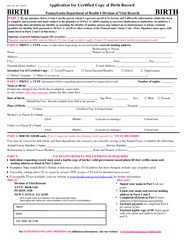 H REV   Application for Certified Copy of Birth Record