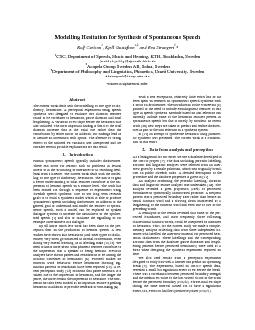 Modelling Hesitation for Synthesis of Spontaneous Speech  Rolf Carlson