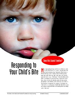 Responding to Your Childs Bite The Center on the Social and Emotional Foundations for Early Learning Vanderbilt University vanderbilt
