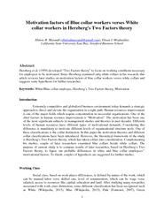 Motivation factors of Blue collar workers verses White