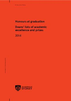 THE UNIVERSITY OF SYDNEYHonours at Graduation,DEANS' LISTS OF ACA PowerPoint PPT Presentation
