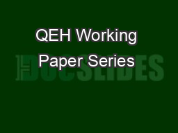 QEH Working Paper Series – QEHWPS81  Page 1