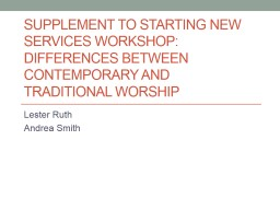 Supplement to Starting New Services Workshop:  Differences