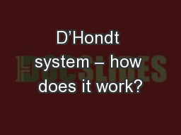 D'Hondt system – how does it work?