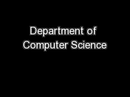 Department of Computer Science