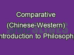 Comparative (Chinese-Western) Introduction to Philosophy