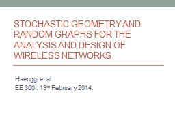 Stochastic Geometry and Random Graphs for the analysis and