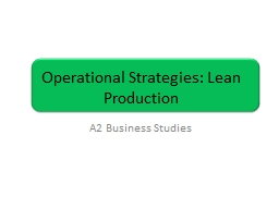 Operational Strategies: Lean Production