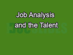 Job Analysis and the Talent