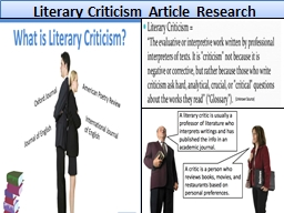 Literary Criticism Article Research