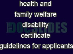 Department of health and family welfare disability certificate guidelines for applicants